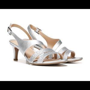 Naturalizer Taimi Silver Glitter Formal Heels NIB